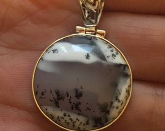 Landscape scenic dendritic pendant 925 sterling silver round, Opal stone.