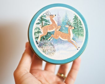 Vintage Christmas Decor   Set of 5 Frolicking Deer Coasters and Container