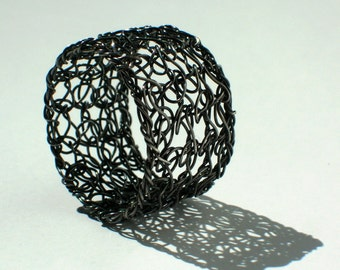 Wire Crochet Ring Oxidized Sterling Silver Band Ring