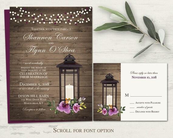 Purple Rustic Wedding Invitations: Purple Wedding Invitations Rustic Lantern Wedding Invitation