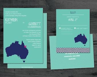 Australia – Wedding Invitation Set – Destination Wedding –