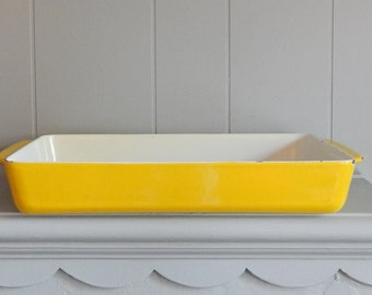 Yellow COPCO Cast Iron Baking Dish / Rectangle Roasting Pan / Michael Lax