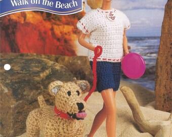 Walk on the Beach, Crochet Pattern, Crochet Dog, Gift Idea, Annies Fashion Doll, Vintage 1996, Leaflet FCC13-01, Sewing Pattern, Supplies
