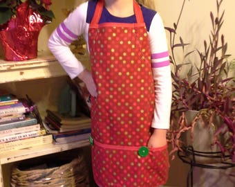 Red Polka Dot Holiday Apron with Chef Hat, Christmas Gift, Boys Birthday Gift, Red Apron, Fun Child's Apron