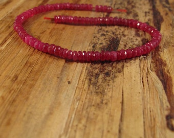 Untreated Ruby Rondelles, Natural Faceted Rubies, 8 Inch Strand, 5mm Ruby Beads for Making Jewelry, Over 95 Gemstones (Luxe-Ru4a)