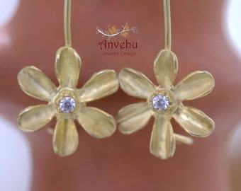 14K soild gold dangle earrings Diamond earrings 18K solid gold earrings Flower earrings