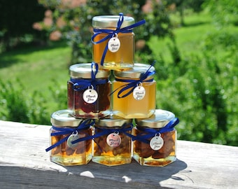 Edible Gifts, Honey, Nuts & Fruit Jars, Family Favors, Bridal Shower Favors, 6