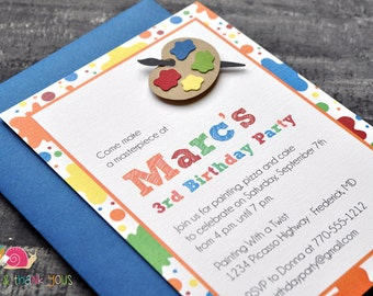 Art Party Invitations · A6 FLAT · Primary Blue · Birthday Party   Painting Party   Artist   Paint Palette