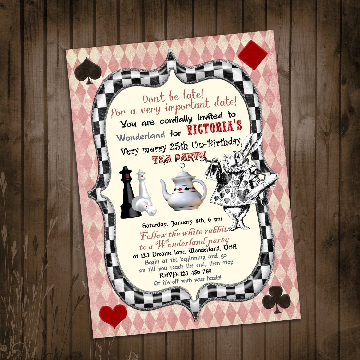 Alice in Wonderland Invitation Vintage Birthday Tea Party