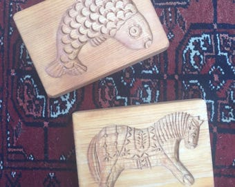 Vintage Wooden Cookie Press ~ Swedish Horse and Fish
