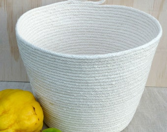 Rope Bowl, natural cotton, silver thread