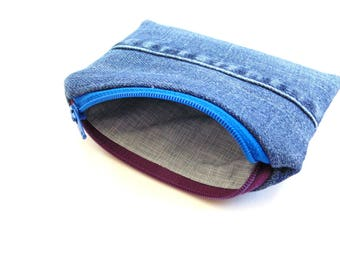 Blue denim upcycled jeans change pouch, coin purse, funky two toned zipper pouch, women teen denim bag