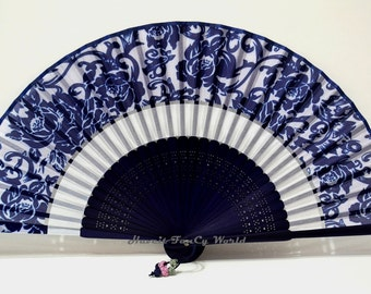 Silk Cloth Blue Hand Fan black colored bamboo art work pattern bamboos Hand Fan Folding Fan , Kimono Sensu, wedding fan