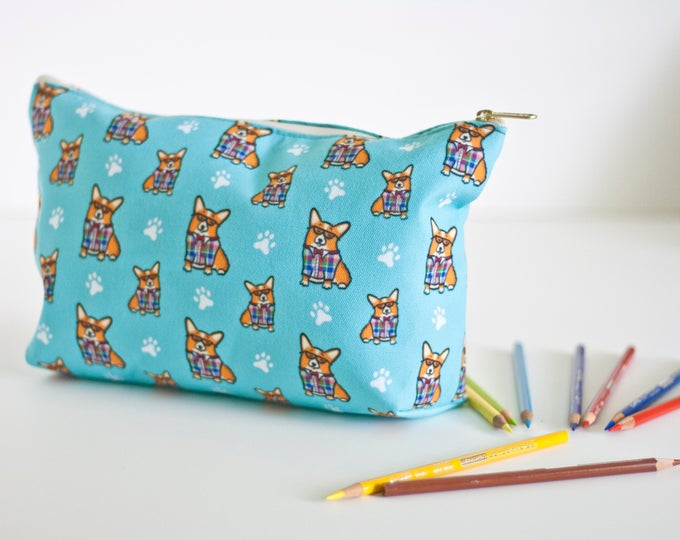 "Featured listing image: Large Corgi Pouch Accessory Bag 12.5 x 7""- ""Corgeek"" Travel Bag/Makeup Bag - Different Corgi colors to choose from (Pembroke & Cardigan)"