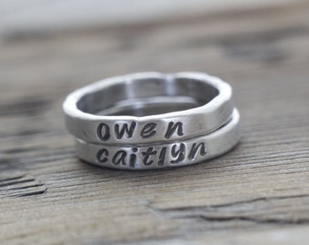 wider 3mm fine silver stacking rings, personalized rings, stackies, name rings, rustic, organic, mother's ring, hand stamped, gift for her