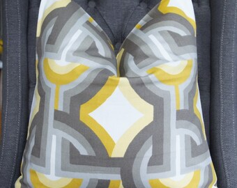 Yellow and Gray Geometric Pillow Cover, Decorative Pillow, Throw Pillow, Home Furnishing, Home Decor
