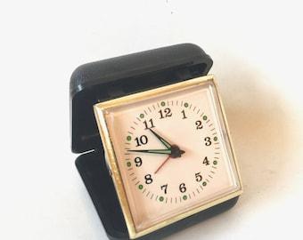 Vintage Travel Alarm Clock in black case