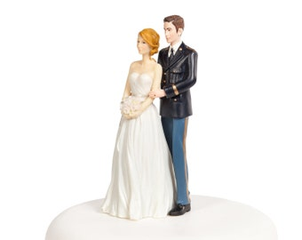 Army Wedding Cake Topper - Caucasian Bride and Groom - 702231/702220