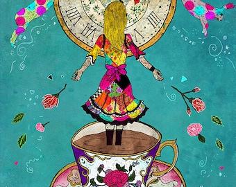 ALICE'S DREAM 11x14 Fine Art Print, Alice Wonderland Art, Mixed Media Art, Illustration Print, Wonderland Wall Art, Whimsical, Books