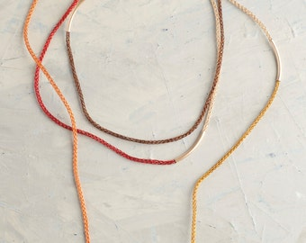 BOHO - Layered OR Long necklace - Long layered gold necklace in color - ONE long necklace worn in 1 to 4 layers - wire crochet tube necklace