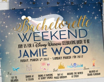 Disney Theme Bachelorette Invitation-Bride Tribe Weekend-Itinerary Invitation-Weekend Getaway -Timeline Invitation- Bridal Shower-Printable-