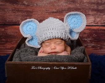 Crochet Elephant Hat/baby hat/crochet baby hat/baby boy hat/baby shower gift/photo prop/animal baby hat/baby elephant hat/Ready to ship