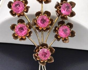 Vintage Sterling Pink plastic stone brooch
