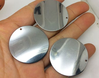 10/50Pcs 36mm Big Polished Stainless Steel Round Wavy Disc Blanks Stamping, Disk Waves Beads