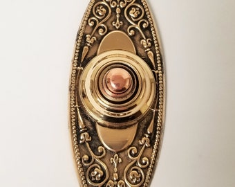 1880's Solid Brass Vintage Doorbell Button, Highly Decorative, Electrical Bell, E0210
