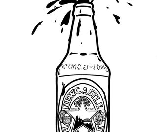 Newcastle Brown Ale bottle - Hand-drawn illustration print