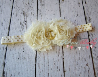 Nautical Anchor Headband -  Cream & Gold - Newborn Infant Baby Toddler Girls Adult Ladies Ivory Polka Dot