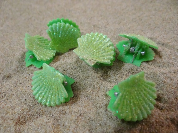 6 pc Green Glitter Little Shell Seashell Clam Clamshell Hairclip Hair Clip Accessory Claw Mermaid Siren Festival Accessories Butterfly Clips