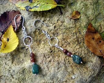 Seasons change beaded earrings, sterling silver, moss agate, fancy jasper, unique jewelry by Grey Girl Designs on Etsy