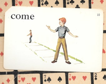 COME/boys playing/Vintage Vocabulary Flashcard