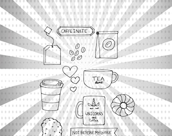 Coffee and Tea Digital Stamp Set