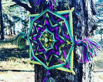 Ojo de Dios Eye of God Yarn Mandala Shaman Love, Created by a Reiki Master Teacher.