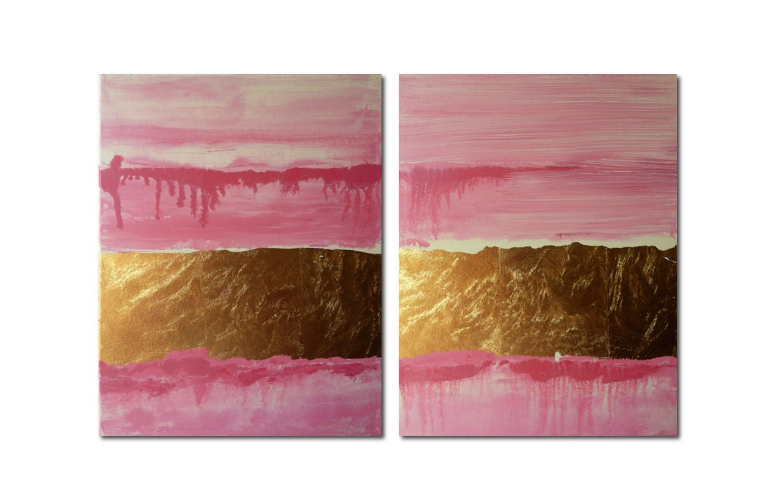 Pink Abstract Canvas Art: Pink Gold Leaf Abstract Diptychoriginal Artacrylic On Canvas