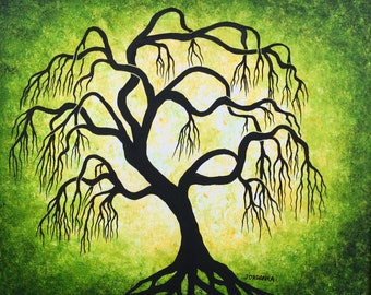 Twisted green  wollow tree ,  Wall art, Original acrylic painting by Jordanka