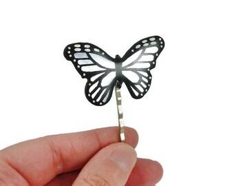 Epingle à cheveux papillon irisé et noir, barrette papillon brillant, accessoire à cheveux éco-responsable en plastique peint (CD recyclé)