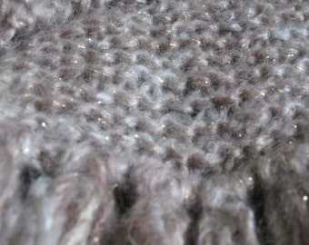 HAND-KNITTED SCARF - 60in x 5in, Creamy Beige extra-long tassels