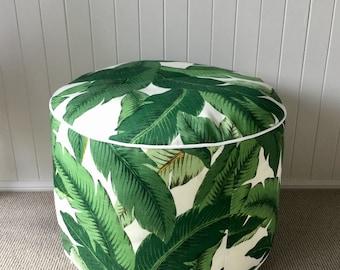 Outdoor/indoor Handmade Pouf / Floor cushion / Pillow/ Cushion/ Ottoman Cover Green Tropical  Palm