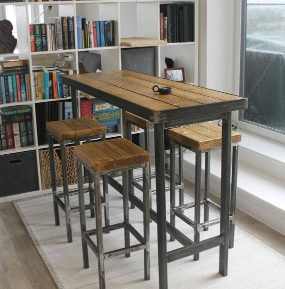 Bar Dinner Table: Handmade Bespoke Modern Industrial Long Narrow Bar Table