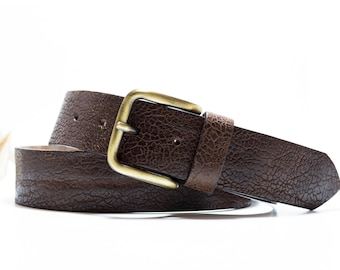 Men handmade genuine leather brown belt w/ buckle - Madrid by AlterSkin