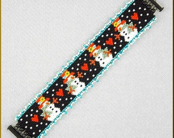Snowman Line- Up Peyote Bracelet Pattern