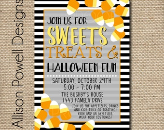 Kids, Family, Neighborhood Halloween Party Invitation - Not scary- Sweets Treats Custom Printable DIY Invitation