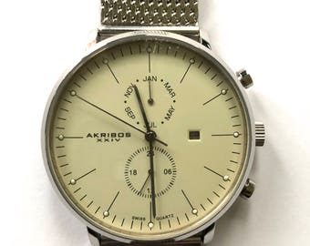 Men's Akribos XXIV AK685SS Swiss Quartz Day/Month Stainless Steel Mesh Watch