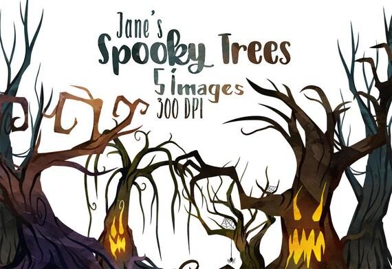 Aquarell gruseligen Bäume Clipart Halloween Artikel Download