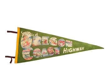 Vintage Souvenir of Oregon Coast Highway Felt Flag Pennant