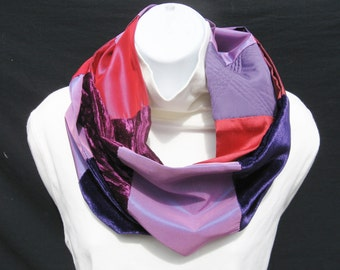 Red and Purple Infinity Scarf, Patchwork Scarf, Dressy Infinity Scarf, Elegant Infinity Scarf, Patchwork Infinity Scarf, Pieced Scarf, OOAK