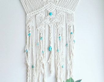 Turquoise Macrame Curtain- Macrame Wall Hanging~ Dorm Furniture~ Boho Wall Decor~ Wedding Decor~ Turquoise Wall Accent- Bohemian